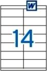 105 x 40 mm méretű öntapadós etikett címke A4-es lapon.