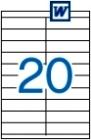 105 x 29 mm méretű öntapadós etikett címke A4-es lapon.