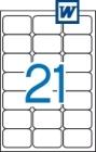 63,5 x 38,1 mm méretű öntapadós etikett címke A4-es lapon.