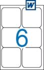 99,1 x 93,1 mm méretű öntapadós etikett címke A4-es lapon.