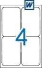 99,1 x 139 mm méretű öntapadós etikett címke A4-es lapon.