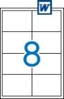 97 x 67,7 mm méretű öntapadós etikett címke A4-es lapon.