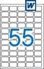 36,8 x 23,8 mm méretű öntapadós etikett címke A4-es lapon.