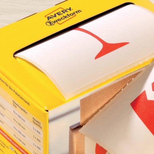 Címkék praktikus adagoló dobozban