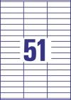 70 x 16,9 mm méretű öntapadó címke A4-es lapon.