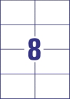 105 x 74 mm méretű öntapadó címke A4-es lapon.