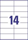105 x 41 mm méretű öntapadós etikett címke A4-es lapon.