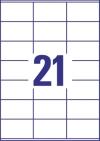 70 x 41 mm méretű öntapadó címke A4-es lapon.