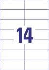 105 x 42,3 mm méretű nyomtatható öntapadós etikett A4-es lapon.