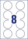 65 mm átmérőjű nyomtatható öntapadós kör alakú etikett címke A4-es lapon.
