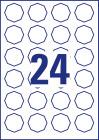 40,8 x 40,3 mm méretű nyolcszög alakú nyomtatható öntapadós termék címke A4-es lapon.
