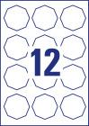 61 x 60,3 mm méretű nyolcszög alakú nyomtatható öntapadós termék címke A4-es lapon.