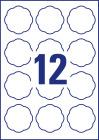 60 x 59,5 mm méretű virág alakú nyomtatható öntapadós termék címke A4-es lapon.