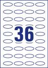 40 x 20 mm méretű ovális alakú nyomtatható öntapadós termék címke A4-es lapon.