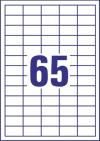 38 x 21,2 mm méretű öntapadó címke A4-es lapon.