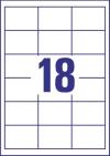 64 x 45 mm méretű öntapadó címke A4-es lapon.