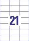 70 x 42,3 mm méretű nyomtatható öntapadós etikett A4-es lapon.