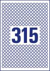 10 mm átmérőjű nyomtatható öntapadós kör alakú etikett címke A4-es lapon.