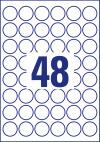 30 mm átmérőjű nyomtatható öntapadós kör alakú etikett címke A4-es lapon.