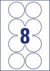 69 mm átmérőjű nyomtatható öntapadós kör alakú etikett címke A4-es lapon.