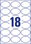 63,5 x 42,3 mm méretű ovális alakú nyomtatható öntapadós termék címke A4-es lapon.