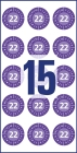20 mm átmérőjű időjárásálló felülvizsgálati címke 2022-es évszámmal 12 hónapos beosztással.