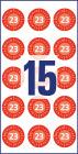 20 mm átmérőjű biztonsági hitelesítő címke 2023-as évszámmal 12 hónapos beosztással.