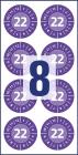 30 mm átmérőjű biztonsági hitelesítő címke 2022-es évszámmal 12 hónapos beosztással.