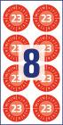 30 mm átmérőjű biztonsági hitelesítő címke 2023-as évszámmal 12 hónapos beosztással.
