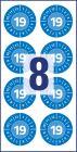 30 mm átmérőjű öntapadó biztonsági jelölőcímke, felülvizsgálati címke, ellenőrzési matrica.