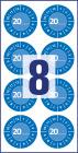 30 mm átmérőjű időjárásálló felülvizsgálati címke 20__ évszámmal 12 hónapos beosztással.