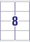 99,1 x 67,7 mm méretű nyomtatható öntapadós időjárásálló etikett A4-es lapon.