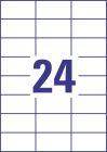 70 x 37 mm méretű nyomtatható öntapadós időjárásálló etikett A4-es lapon.