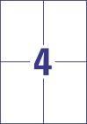 105 x 148 mm méretű nyomtatható öntapadós időjárásálló etikett A4-es lapon.