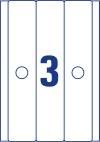 63 x 297 mm méretű nyomtatható öntapadós függőmappa címke A4-es lapon.