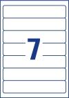 38 x 192 mm méretű öntapadó iratrendező címke A4-es lapon.