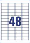 45,7 x 21,2 mm méretű nyomtatható öntapadós időjárásálló etikett A4-es lapon.