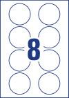 65 mm átmérőjű méretű nyomtatható öntapadós névcímke A4-es lapon.