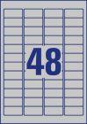 45,7 x 21,2 mm méretű nyomtatható öntapadós ezüst ipari etikett A4-es lapon.