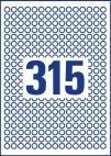 10 mm átmérőjű nyomtatható öntapadós etikett A4-es lapon.