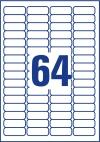 45,7 x 16,9 mm méretű nyomtatható öntapadós függőmappa jelölő címke A4-es lapon.