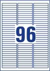 63,5 x 8,5 mm méretű öntapadó címke A4-es lapon.