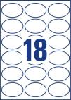 63,5 x 42,3 mm méretű öntapadó ovális alakú címke A4-es lapon.