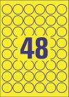 30 mm átmérőjű nyomtatható öntapadós időjárásálló etikett A4-es lapon.