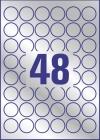 30 mm átmérőjű nyomtatható öntapadós ezüst ipari etikett A4-es lapon.