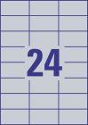 70 x 37 mm méretű nyomtatható öntapadós ezüst ipari etikett A4-es lapon.