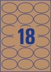 63,5 x 42,3 mm méretű nyomtatható ovális alakú öntapadós termék címke A4-es lapon.