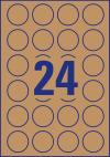 40 mm átmérőjű nyomtatható öntapadós termék címke A4-es lapon.