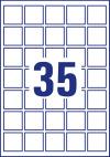 35 x 35 mm méretű öntapadó címke A4-es lapon.