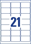 63,5 x 38,1 mm méretű nyomtatható öntapadós etikett A4-es lapon.
